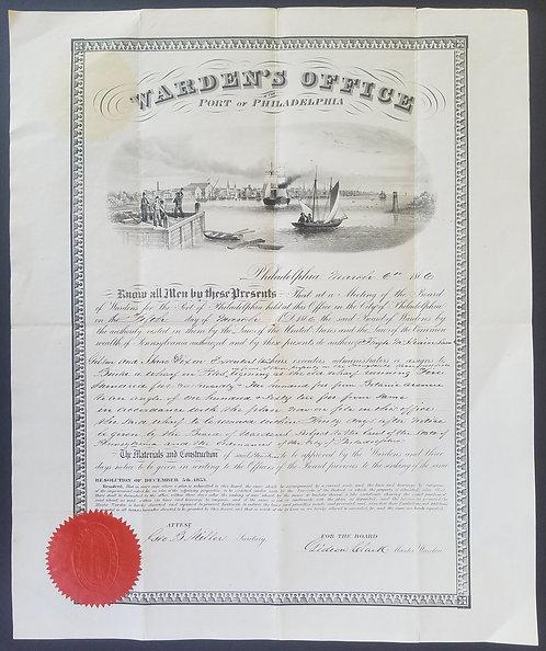 PORT OF PHILADEPHIA - WARDENS OFFICE - BEAUTIFUL ENGRAVING OF HARBOR SCENE 1866