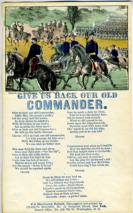 CIVIL WAR - PATRIOTIC LETTERSHEET – GIVE US BACK OUR OLD COMMANDER