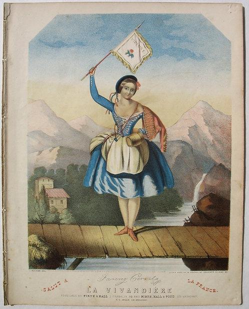 SHEET MUSIC – LA VIVANDIERE, 1844. GREAT COLORED LITHOGRAPH
