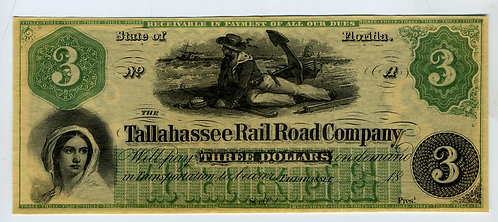 CURRENCY – TALLAHASSEE RAIL ROAD COMPANY -  $3 – UNISSUED -NM CONDITION - CRISP