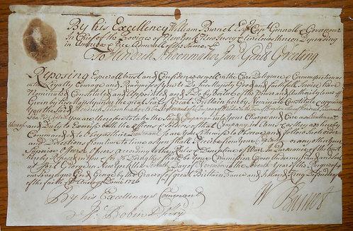 WILLIAM BURNET GOVERNOR OF NY AND NJ 1726 MANUSCRIPT DS MILITIA COMMISSION