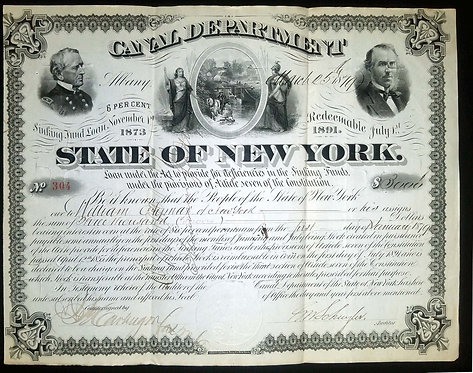 STATE OF NEW YORK - CANAL DEPARTMENT – SINKING FUND BOND JULY 1st 1873 – NICELY