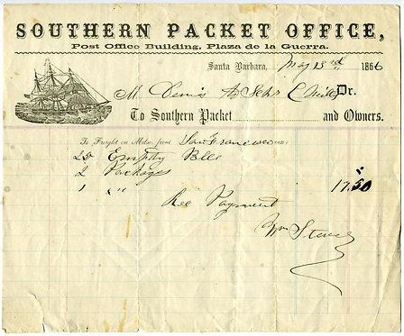 CALIFORNIA - CALIFORNIA PACKET – SANTAS BSARBARA IMPRINT - 1866