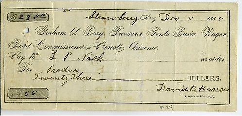 ARIZONA TERRITORY - CHECK – TONTO BASIN WAGON ROAD RECEIPT 1885