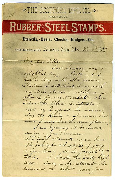 1887 LETTER - BALLOONING
