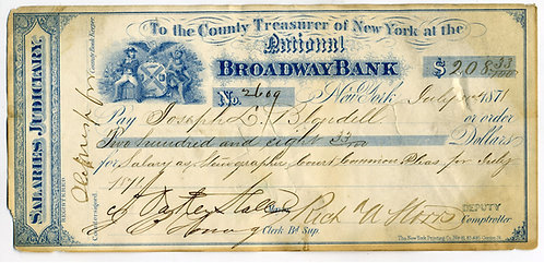 POLITICAL -TWEED RING MAYOR SIGNED CHECK - A. OAKLEY HALL