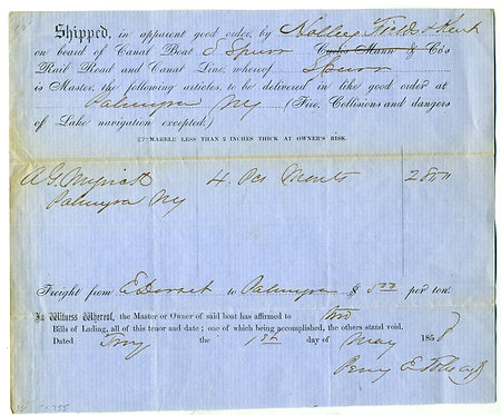 ERIE CANAL BILL OF LADING 1858