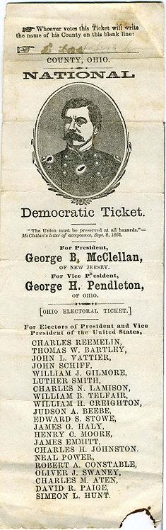 GEO. McCLELLAN 1864 ELECTION BALLOT- PORTRAIT OF LITTLE MAC