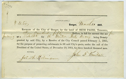 BOUNTY RELATING PROCURING A SUBSTITUTE - 1865