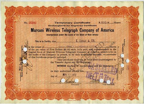 STOCK CERTIFICATE – MARCONI WIRELESS TELEGRAPH CO. – 1912 – TITANIC RELATED