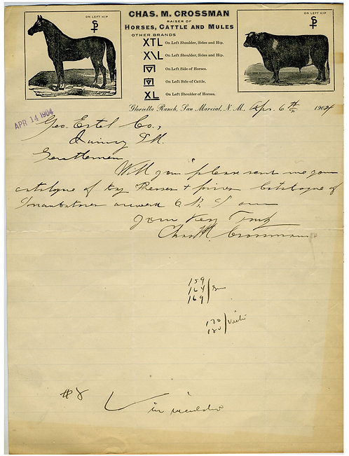 NEW MEXICO HORSE AND CATTLE RAISER LETTERHEAD W/ BRANDS.