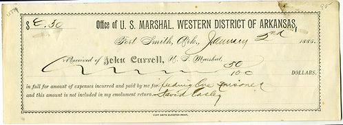FORT SMITH U. S. MARSHAL VOUCHER WESTERN DISTRICT OF ARKANSAS -1885