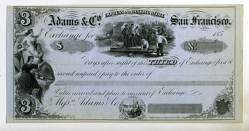 ADAMS & CO. GOLD RUSH ERA - BILL OF EXCHANGE - MINERS SLUICE