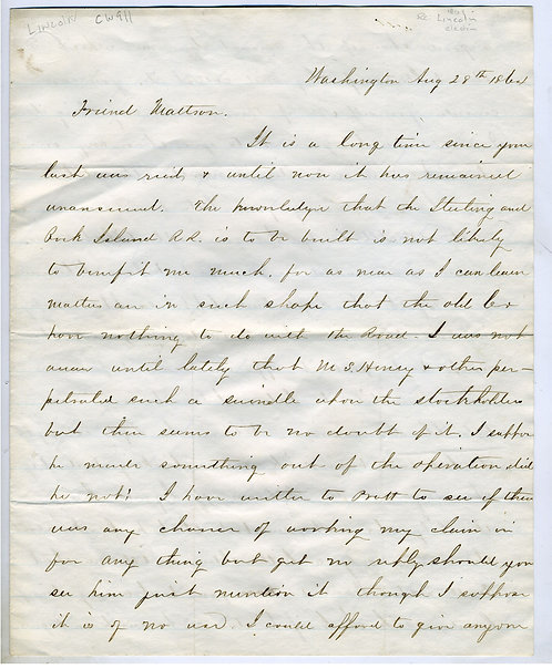 LINCOLN ELECTION - 1864 LETTER.