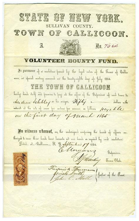 TOWN OF CALLICOON NEW YORK VOLUNTEER BOUNTY FUND 1864.