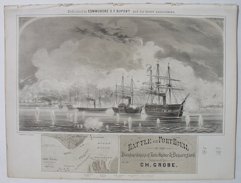 SHEET MUSIC – CIVIL WAR – BATTLE OF PORT ROYAL –1861.