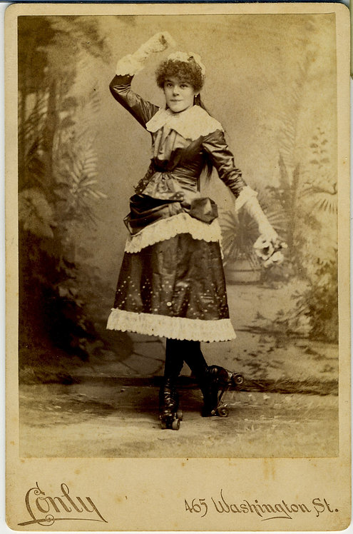 CABINET CARD - YOUNG GIRL ON ROLLER SKATES