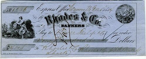 CALIFORNIA GOLD RUSH ERA. RHODES & CO. EXPRESS OFFICE CHECK 1854
