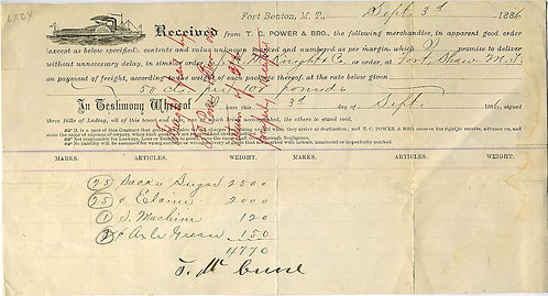 WESTERN MILITARY -BILL OF LADING FORT SHAW, M.T.  1886