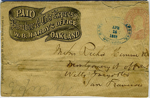 POSTAL – CALIFORNIA EXPRESS –BAMBER & CO. EXPRESS COVER.