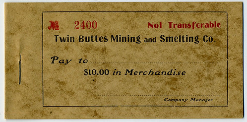 ARIZONA TERRITORY GHOST TOWN COMPANY STORE SCRIP BOOKLET