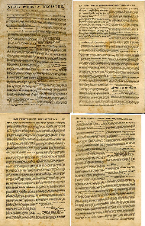 WAR OF 1812 - NEWSPAPER- BATTLE OF NEW ORLEANS.