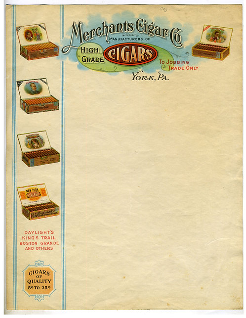 LETTERHEAD – MERCHANT CIGAR – BEAUTIFUL CHROMOLITHOGRAPHY – CA. 1910 – CIGAR BOX