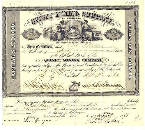 STOCK CERTIFICATE – MICHIGAN – QUINCY MINING CO - 1860