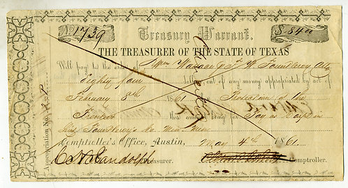 TEXAS RANGERS – PAY ORDER - FRONTIER REGIMENT 1861 – WM WALLACE