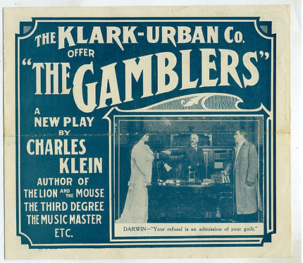"PLAY ADVERTISING PROMOTIONAL PAMPHLET – "" THE GAMBLERS"" NICELY ILLUSTRATED -"