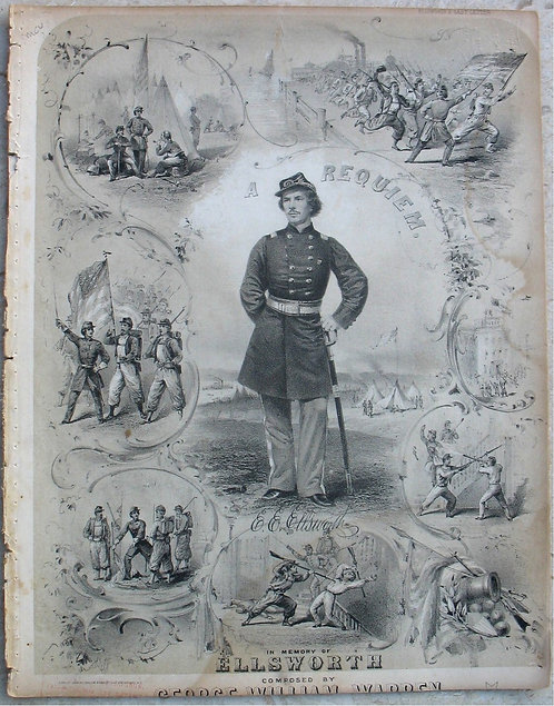 SHEET MUSIC – CIVIL WAR –ELLSWORTH REQUIEM- 1861.