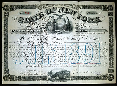 STATE OF NEW YORK - CANAL DEPARTMENT – SINKING FUND BOND JULY 1st 1873