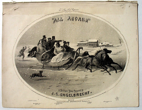 SHEET MUSIC – ALL ABOARD, 1855. LITHOGRAPH COVER- SLEIGHING