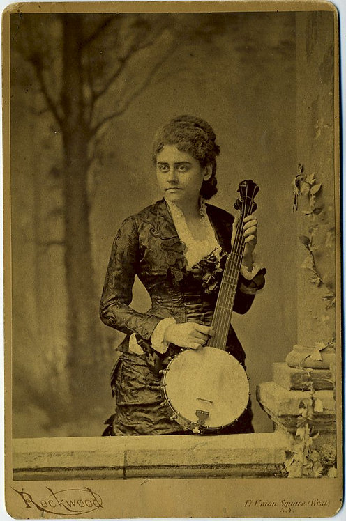 MUSICAL -YOUNG WOMEN WITH BANJO - CABINET CARD.