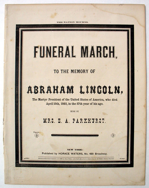 LINCOLN - SHEET MUSIC - FUNERAL MARCH.