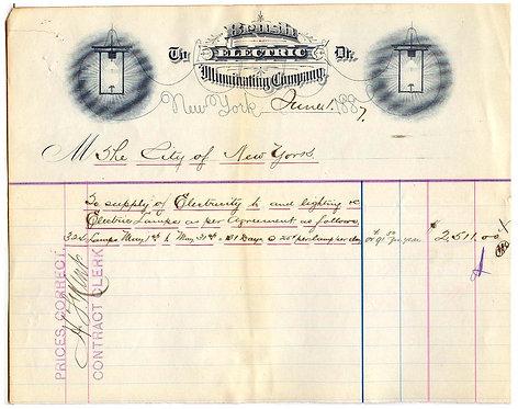 EARLY LIGHTING -BRUSH ELECTRIC ILLUMINATING CO - 1887 ILLUSTRATED BILLHEAD