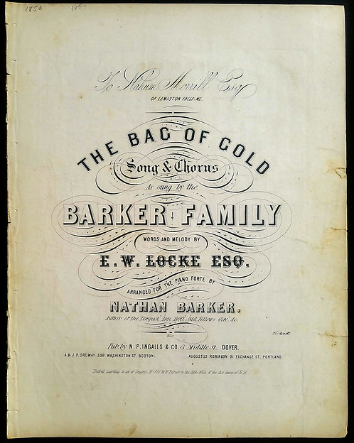 CALIFORNIA GOLD RUSH SHEET MUSIC - THE BAG OF GOLD - 1850