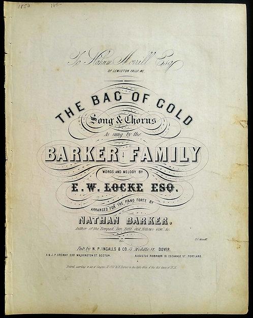 CALIFORNIA GOLD RUSH SHEET MUSIC - THE BAG OF GOLD - 1850