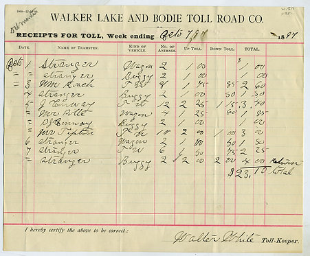 WALKER LAKE AND BODIE TOLL ROAD CO. WEEKLY RECEIPTS