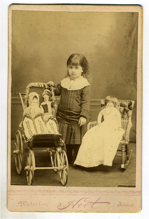 CABINET CARD - YOUNG GIRL WITH LARGE DOLLS IN BUGGY AND ROCKING CHAIR.