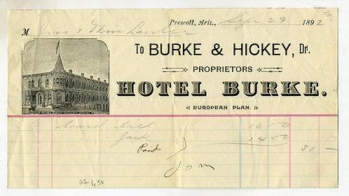 ARIZONA TERRITORY- PRESCOTT ILLUSTRATED BILLHEAD – HOTEL BURKE 1892.