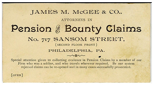 CIVIL WAR PENSION AND BOUNTY CLAIMS BUSINESS CARD – PORTRAIT