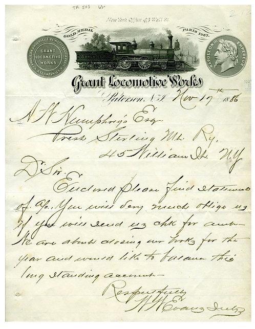 RAILROAD - 1878 LOCOMOTIVE WORKS ILLUSTRATED LETTERHEAD