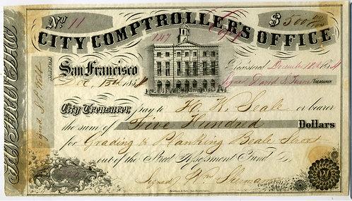 CALIFORNIA - SAN FRANCISCO 1854 GRAPHIC CITY COMPTROLLER'S OFFICE WARRANT