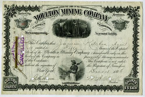 MOULTON MINING COMPANY - STOCK CERTIFICATE - W. A. CLARK