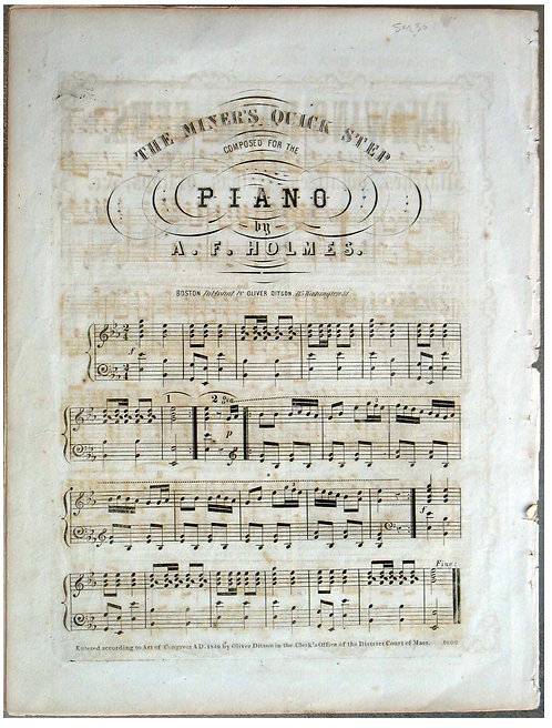 CALIFORNIA GOLD RUSH SHEET MUSIC - THE MINERS QUICK STEP - 1849