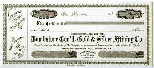 ARIZONA - STOCK CERTIFICATE -TOMBSTONE CON'D GOLD & SILVER MINING CO