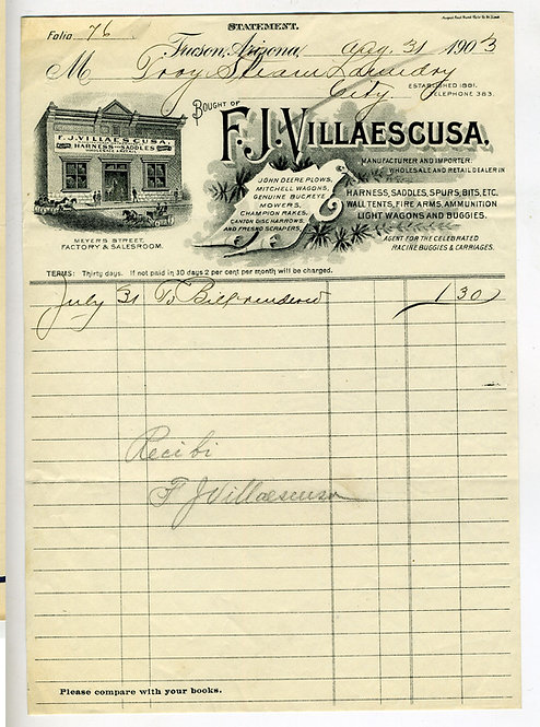 ARIZONA– TUCSON – F.J. VILLAESCUSA HARNESS SADDLES ILLUSTRATED BILLHEAD 1903