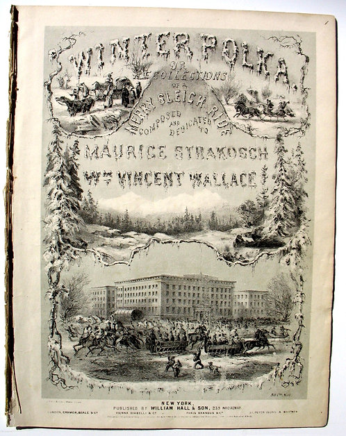 SHEET MUSIC – WINTER POLKA, 1853 – LITHOGRAPHIC COVER ILLUSTRATION