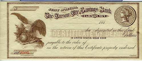 NEVADA CARSON CITY BANK CERTIFICATE OF DEPOSIT –  ILLUSTRATED EAGLE - GOLD COIN